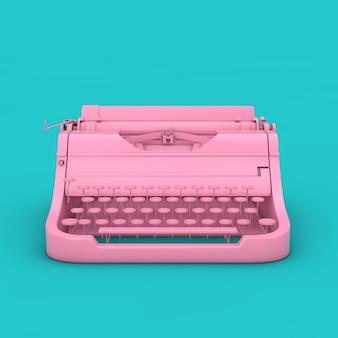Старая винтажная ретро розовая пишущая машинка в стиле дуплекса на синем фоне 3d-рендеринга