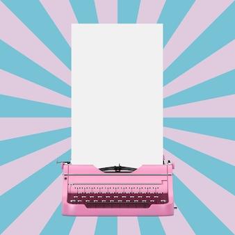 빈티지 별 모양 분홍색과 파란색 배경에 디자인을 위한 준비가 긴 흰색 빈 종이와 함께 오래 된 빈티지 레트로 핑크 타자기. 3d 렌더링