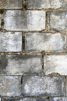 Old vintage retro style grey brick wall at street, decrepit with time. abstract brick background and texture. vertical shot. close-up. outdoors.