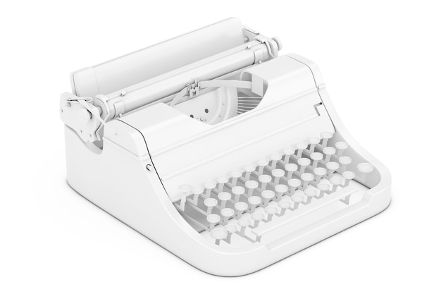 Old vintage retro typewriter in clay style on a white background. 3d rendering.