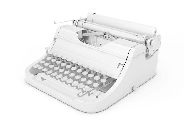 Старая винтажная ретро пишущая машинка в стиле глины на белом фоне. 3d-рендеринг.