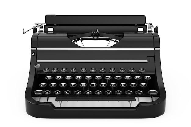 Старая винтажная ретро пишущая машинка на белом фоне. 3d-рендеринг.