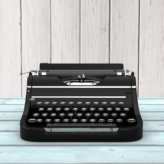 Старая винтажная ретро пишущая машинка на деревянном столе. 3d рендеринг