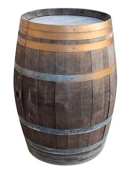 白い背景の上の金属鉄リング分離カットアウトと古いヴィンテージレトロ木製ワイン樽