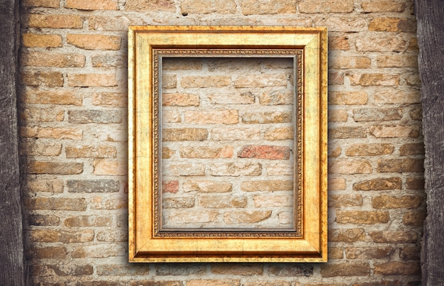 Old vintage rutic wooden picture frame