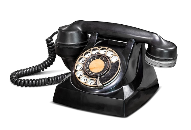Old vintage telephone isolated on white with clipping path