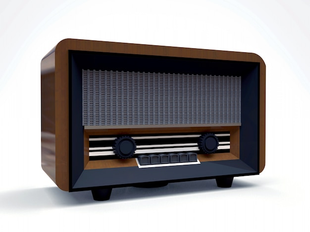 Old vintage tube radio receiver made of wood and black plastic on a white background. old mid-20th century radio. 3d illustration.