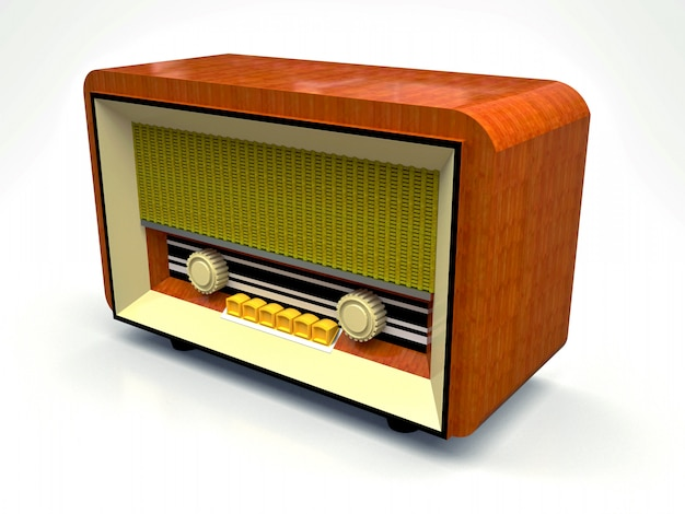 Old vintage tube radio receiver made of wood and cream plastic on a white background. old mid-20th century radio