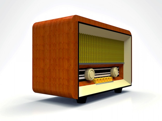 Old vintage tube radio receiver made of wood and cream plastic on a white surface. old mid-20th century radio