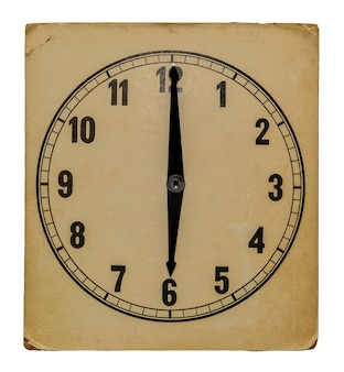 Old vintage wall clock isolated on white background