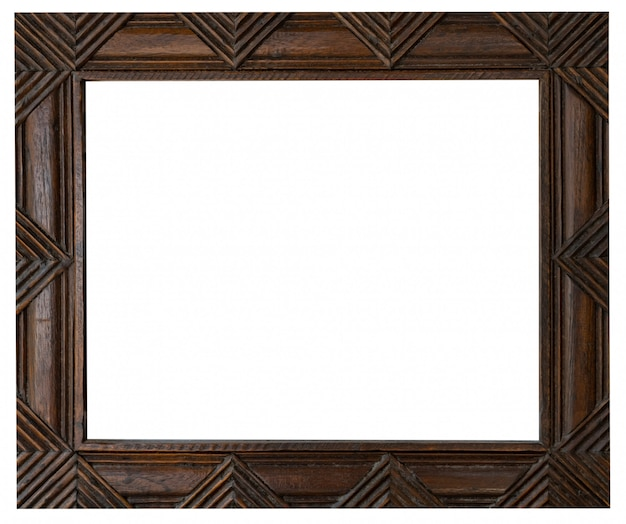Old vintage wooden frame on isolated white with clipping path.