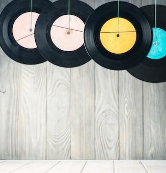 Old vinyl discs. vintage background.