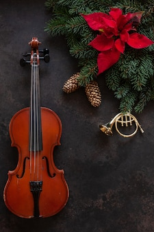 Old violin and fir-tree branches