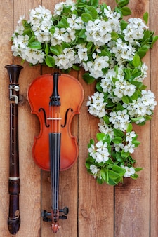 Old violin, flute and blossoming apple tree branches.