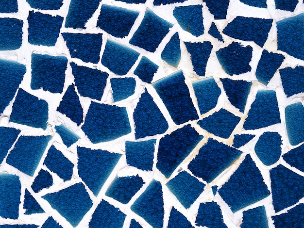 Old wall blue mosaic abstract background