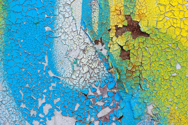 Old wall with cracked, pelling color paint. abstract background, texture
