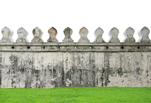Old walls of traditional thai temple isolated on white background.