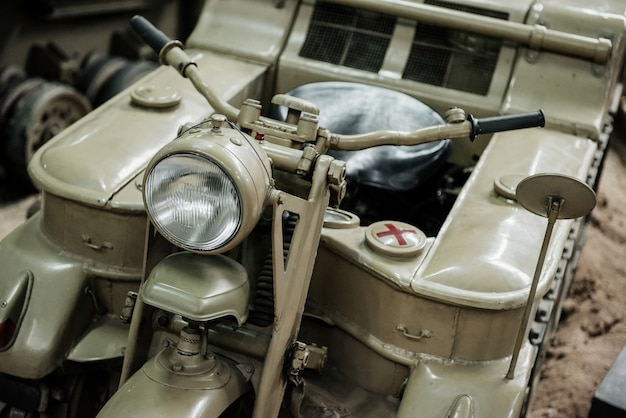 Old war motorcycle view from the front