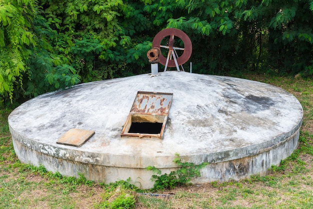 Old water tank, water treatment plants of the waterworks in thailand.