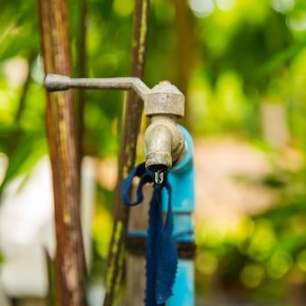 Старый водопроводный кран в саду крупным планом