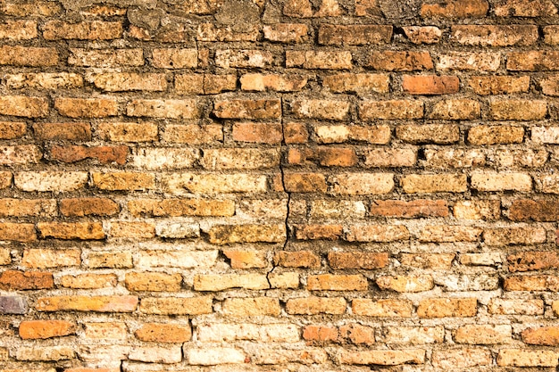 Old, weathered brick wall with brown stains as background