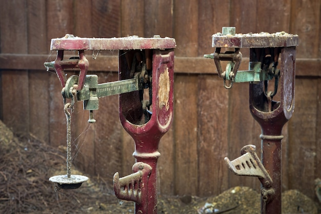Old weighing scales in the storage room.