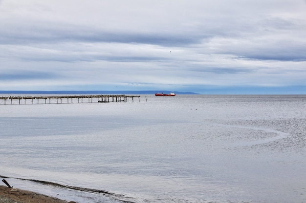 Old wharf in the harbor of punta arenas in patagonia of chile