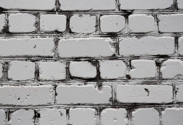 Old white brick wall texture background close up.