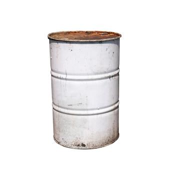 白で隔離される古い白い色の金属バレル