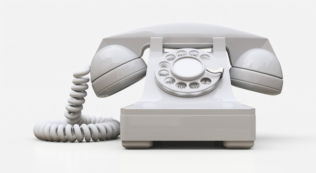 Old white dial telephone. 3d rendering.