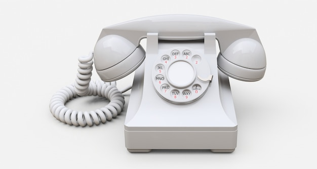 Old white dial telephone