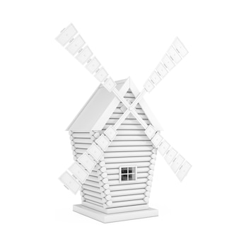 Old white windmill farm in clay style on a white background. 3d rendering