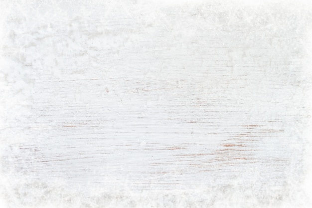 Old white wood texture with snow. top view, border design.