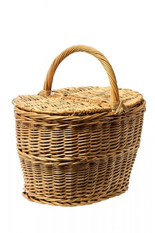 Old wicker basket on a white background