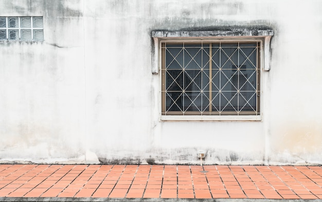 Old window with wall background