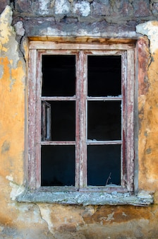 Old window without glass, vintage
