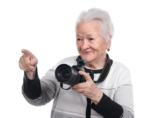 고립 된 사진 카메라와 늙은 여자