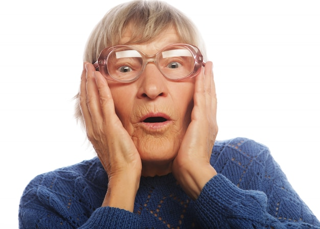 Old woman with surprised expression