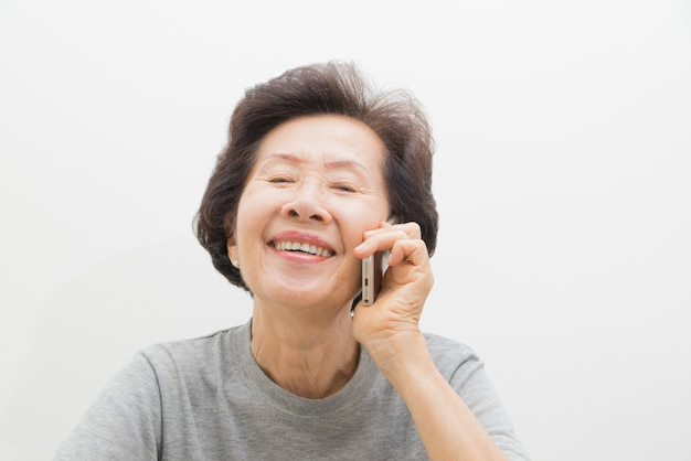 Old women with mobile