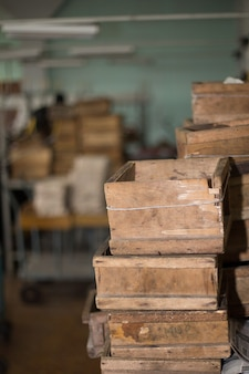 Old wood boxes
