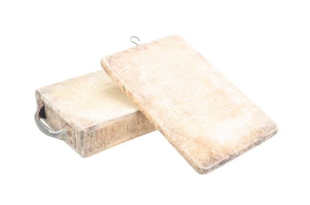 Old wood cutting board isolated with clipping path