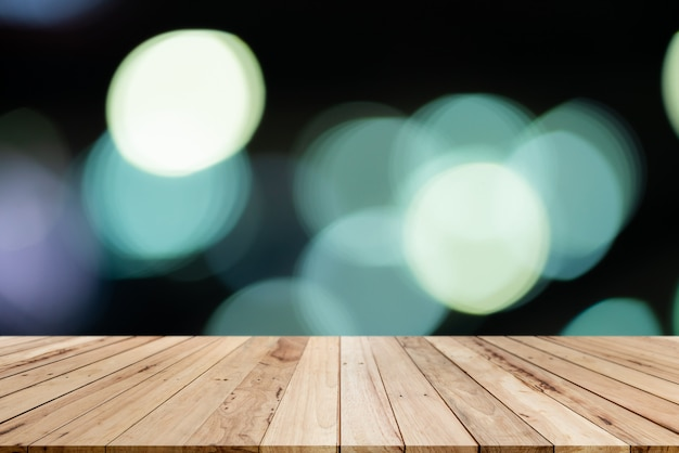 Old wood shelf table with blur bokeh background