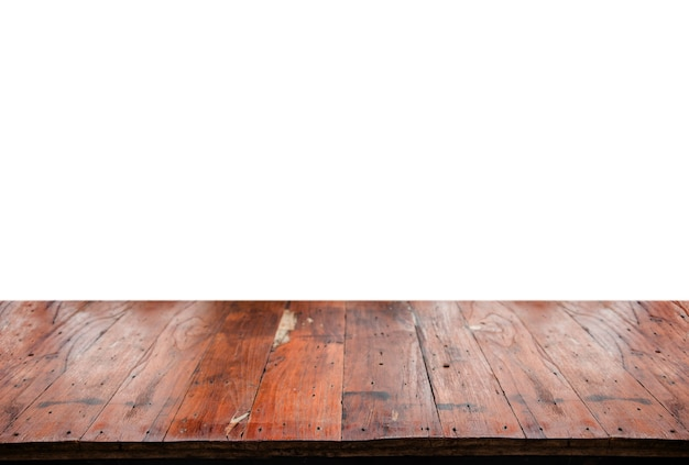 白のディスプレイ製品の古い木製テーブル