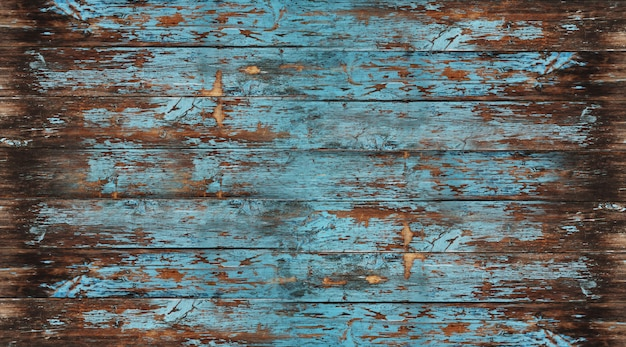 Old wood texture, peeling painted blue wood