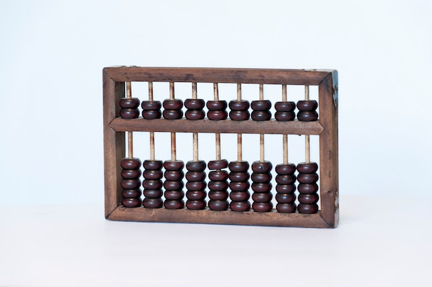 Old wooden abacus on blue