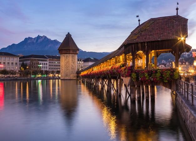 Old wooden architecture called chapel bridge in luzern or lucerne, switzerland