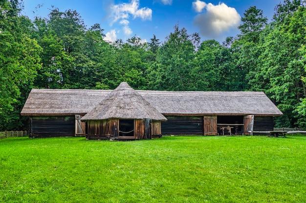 Старый деревянный сарай на траве против деревьев и голубого неба.