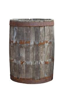 Старая деревянная бочка, изолированные на белом фоне
