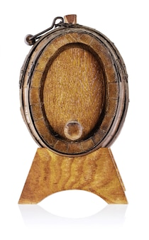Old wooden barrel with stand remove front