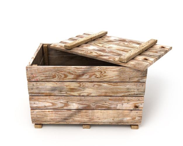 Старый деревянный ящик, изолированные на белом фоне